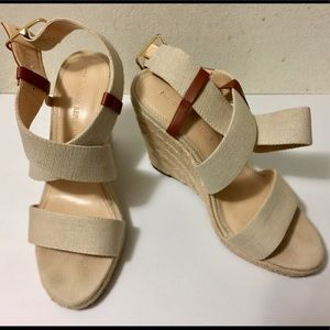 Banana Republic Canvas and Leather Wedges